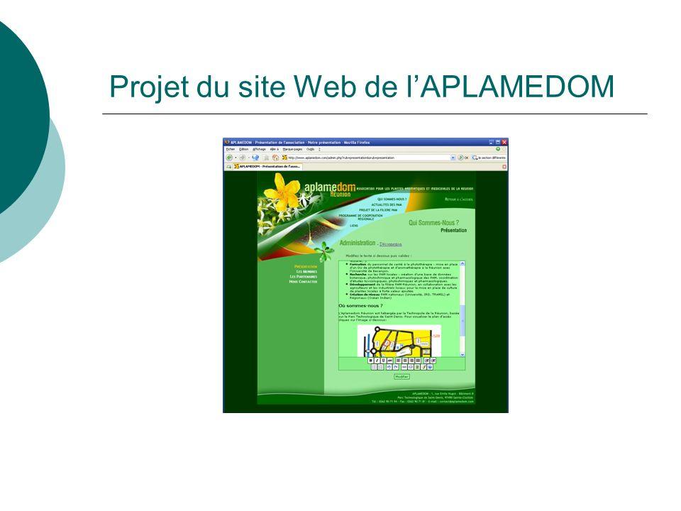 Projet du site Web de l'APLAMEDOM