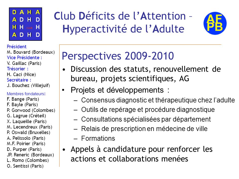 Club Déficits de l'Attention – Hyperactivité de l'Adulte