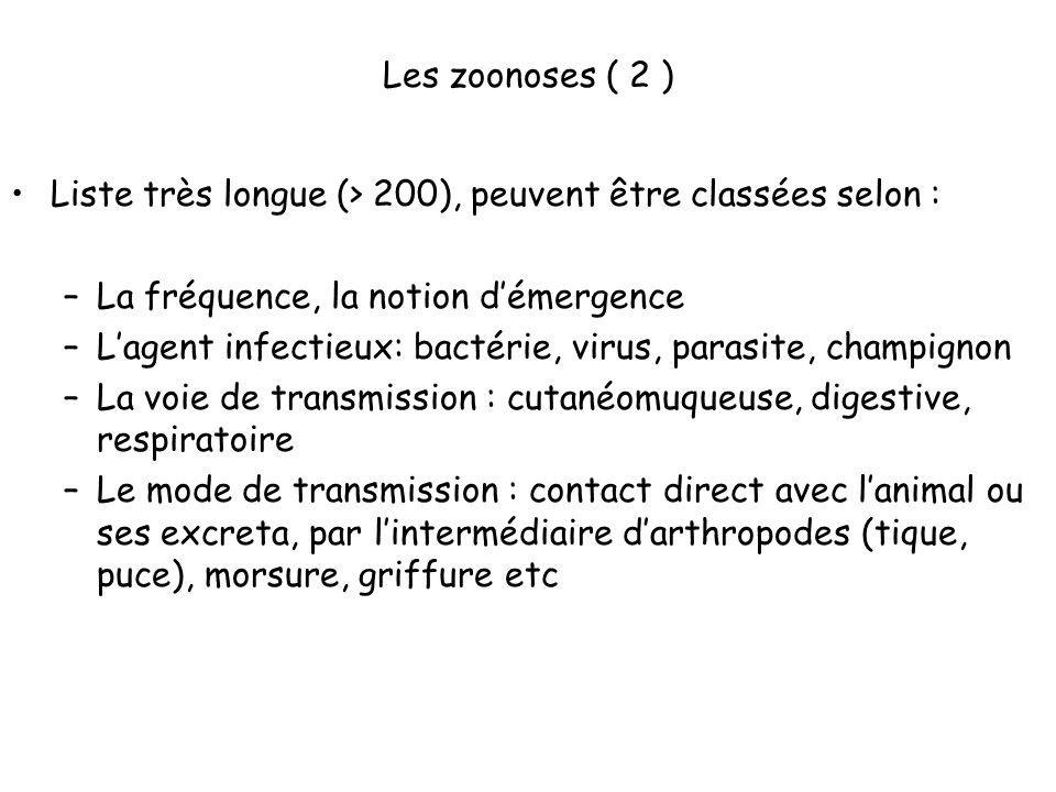 Les zoonoses ( 2 ) Liste très longue (> 200), peuvent être classées selon : La fréquence, la notion d'émergence.