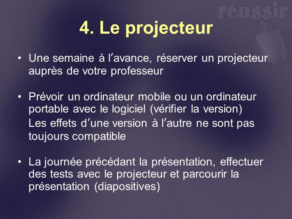 4. Le projecteur Une semaine à l'avance, réserver un projecteur auprès de votre professeur.