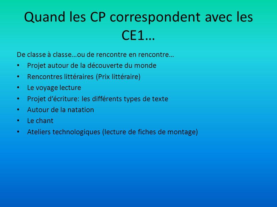 Quand les CP correspondent avec les CE1…