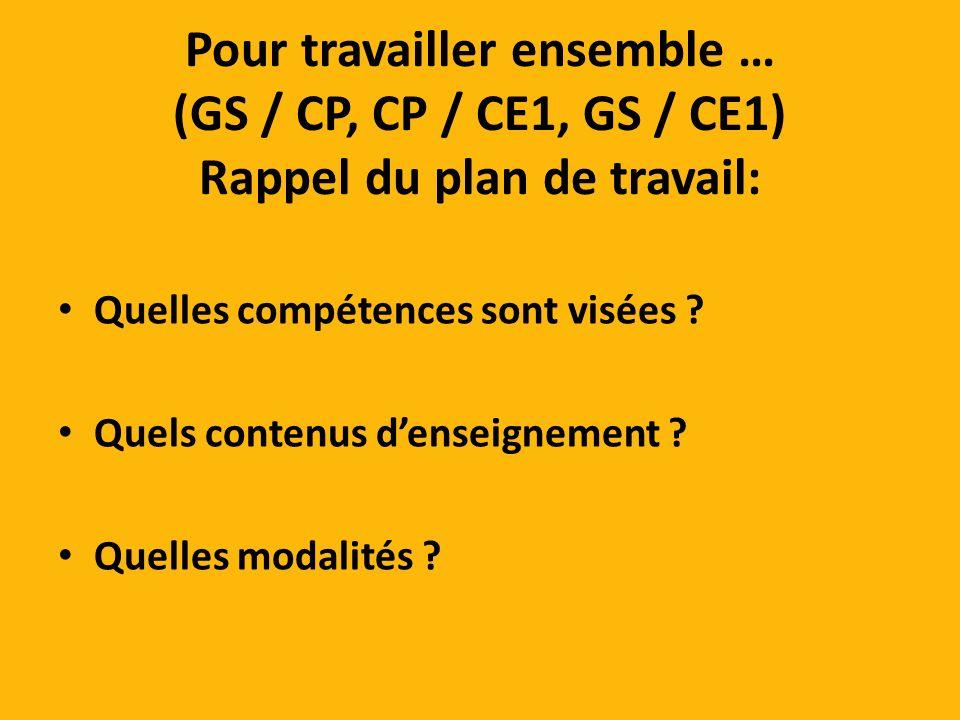 Pour travailler ensemble … (GS / CP, CP / CE1, GS / CE1) Rappel du plan de travail: