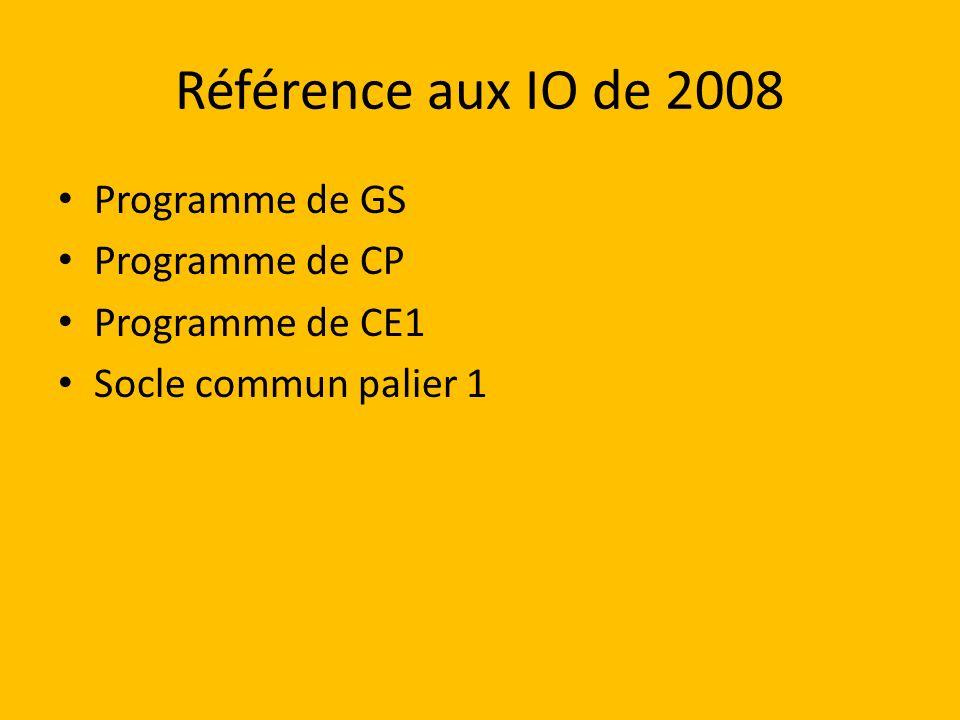Référence aux IO de 2008 Programme de GS Programme de CP