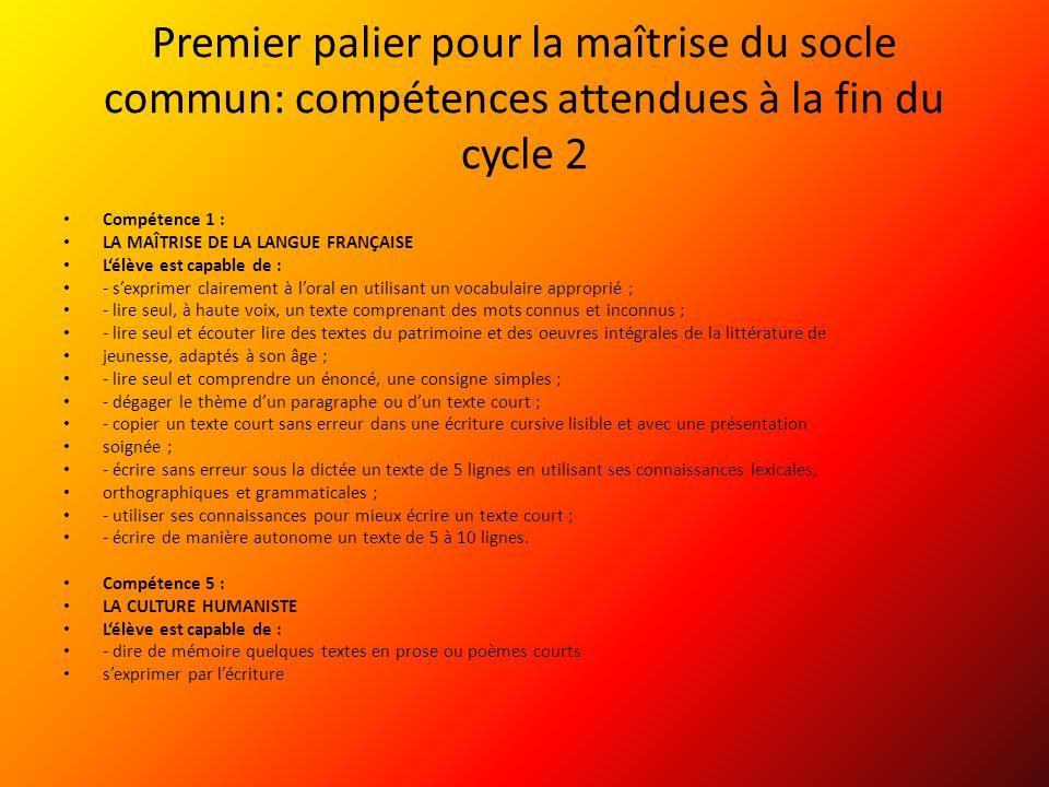 Premier palier pour la maîtrise du socle commun: compétences attendues à la fin du cycle 2