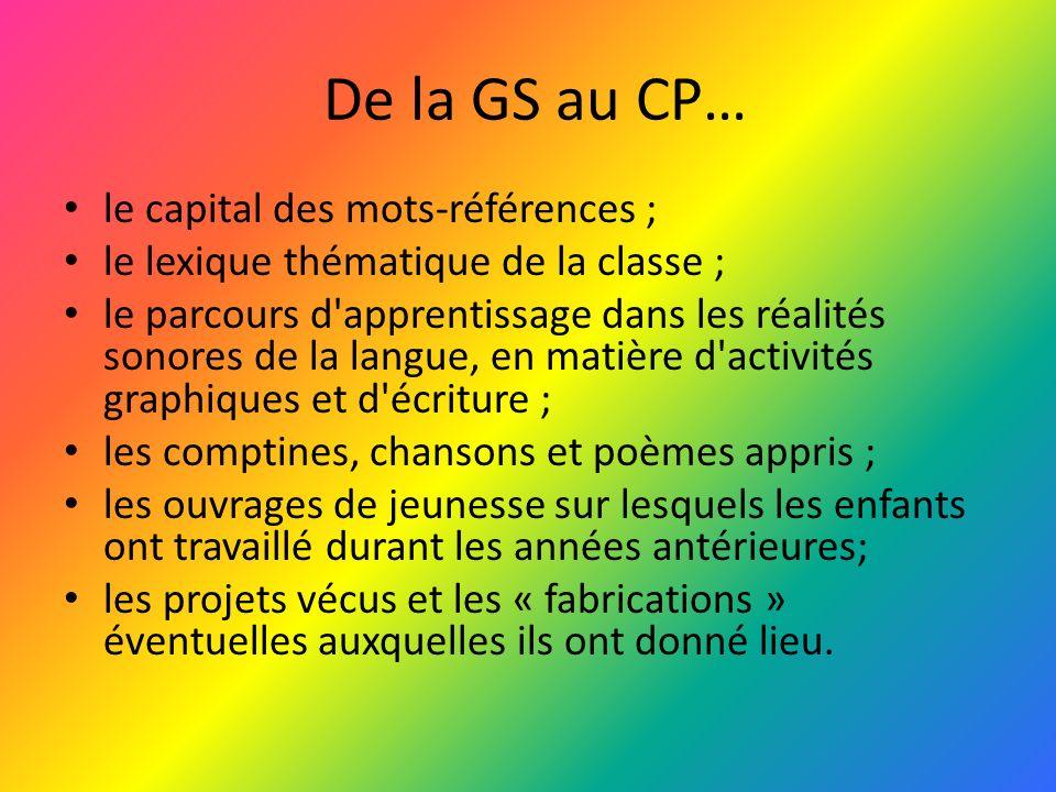 De la GS au CP… le capital des mots-références ;
