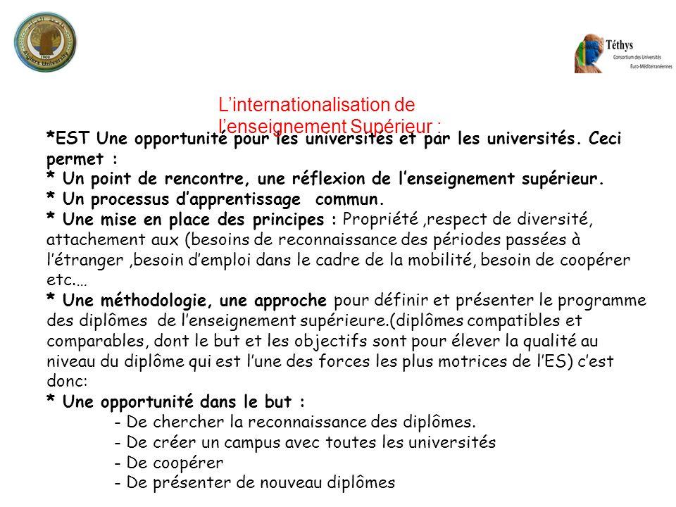 L'internationalisation de l'enseignement Supérieur :