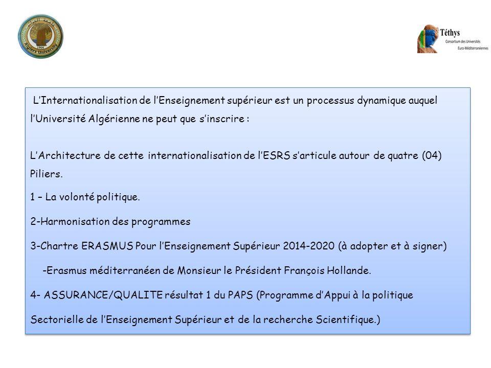 L'Internationalisation de l'Enseignement supérieur est un processus dynamique auquel l'Université Algérienne ne peut que s'inscrire :