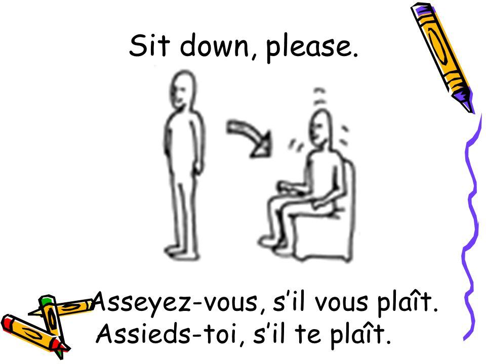 Asseyez-vous, s'il vous plaît. Assieds-toi, s'il te plaît.