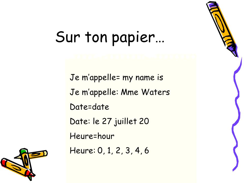 Sur ton papier… Je m'appelle= my name is Je m'appelle: Mme Waters
