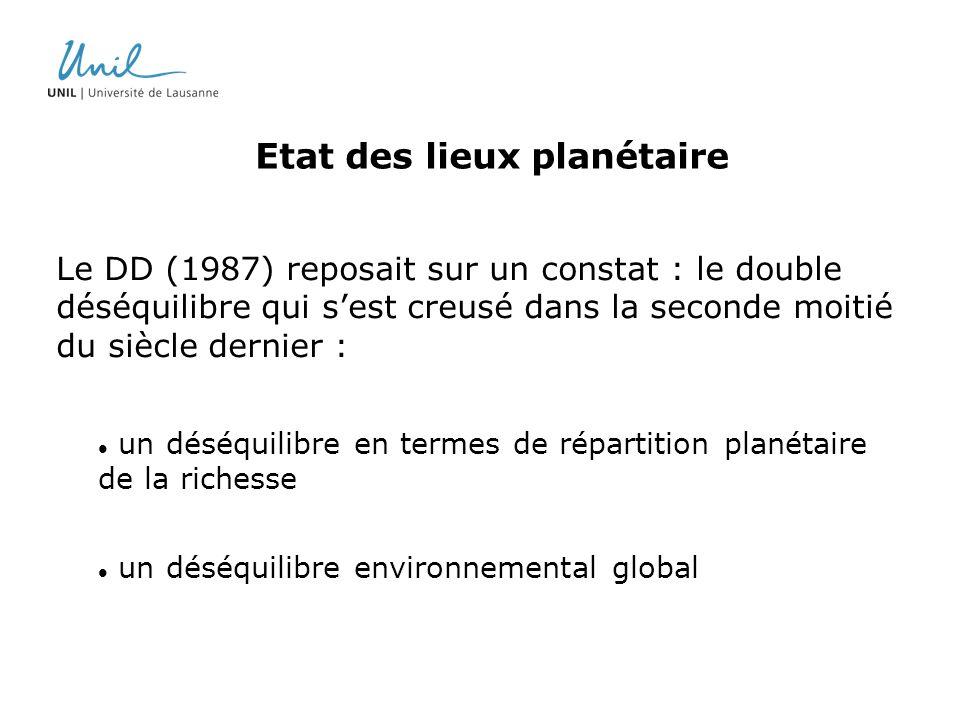 Etat des lieux planétaire