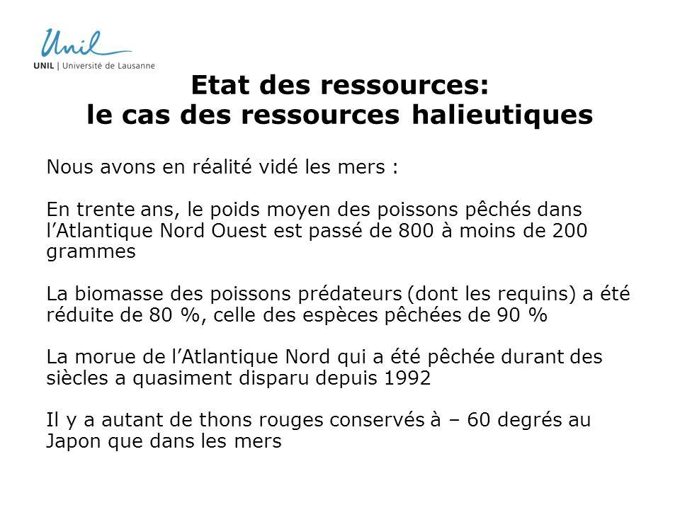 Etat des ressources: le cas des ressources halieutiques