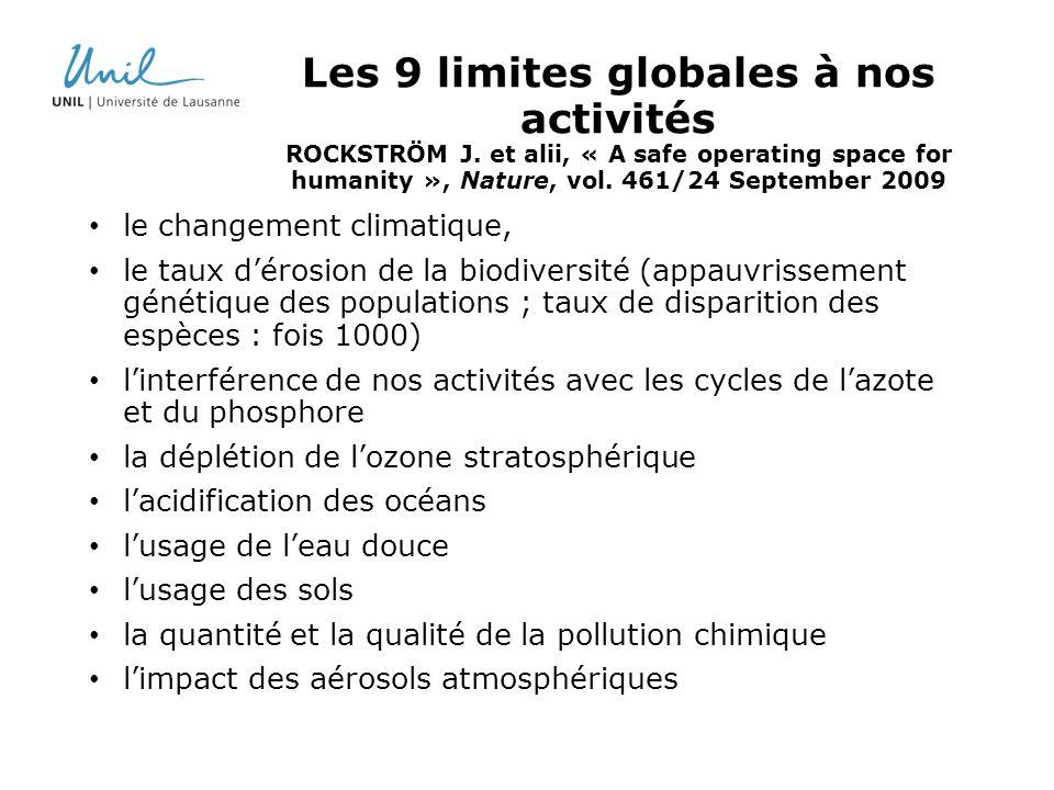 Les 9 limites globales à nos activités ROCKSTRÖM J
