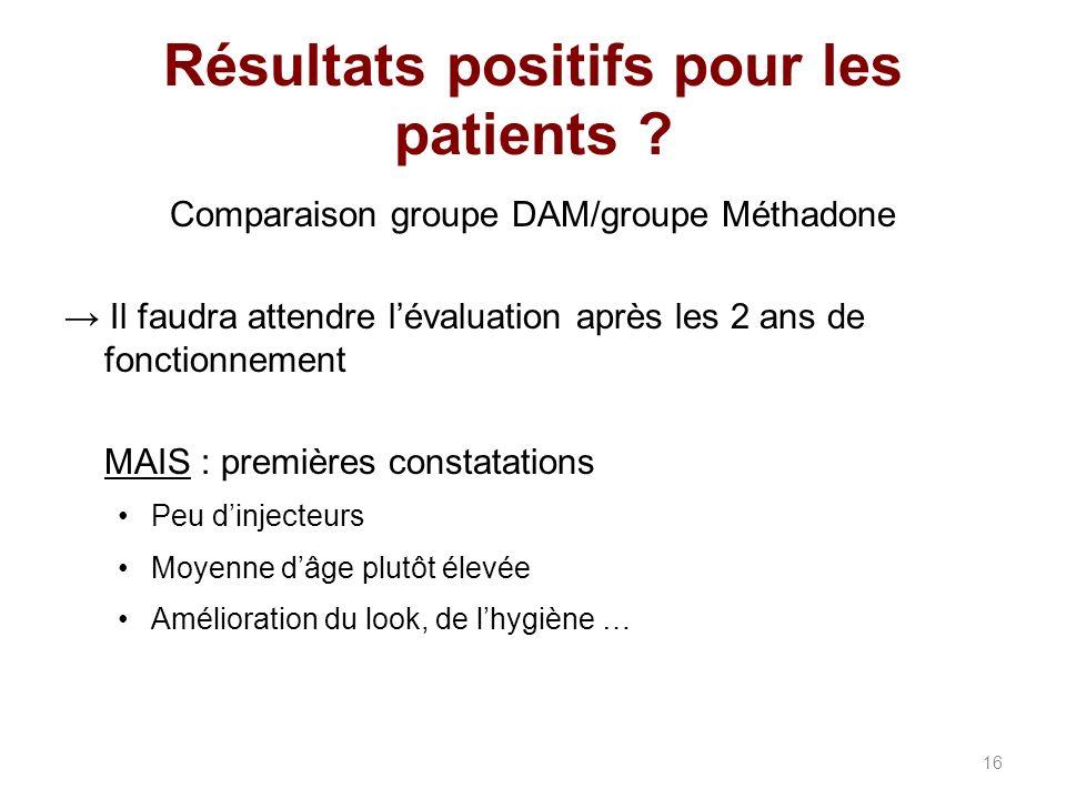 Résultats positifs pour les patients