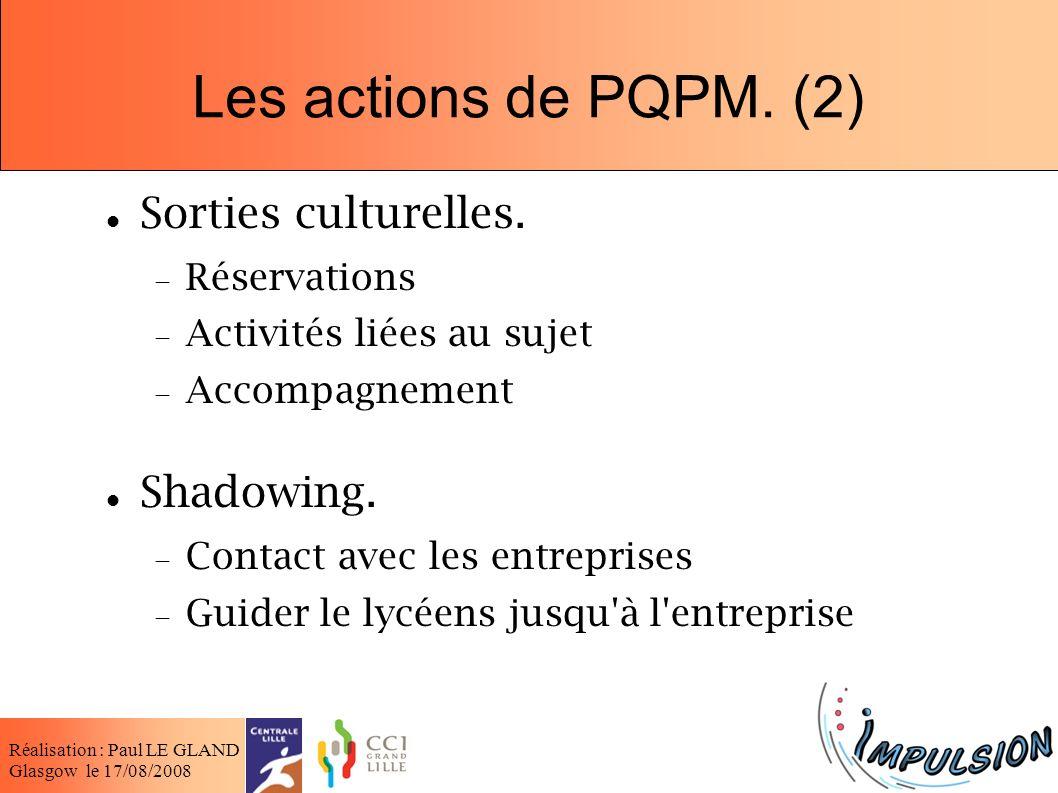 Les actions de PQPM. (2) Sorties culturelles. Shadowing. Réservations