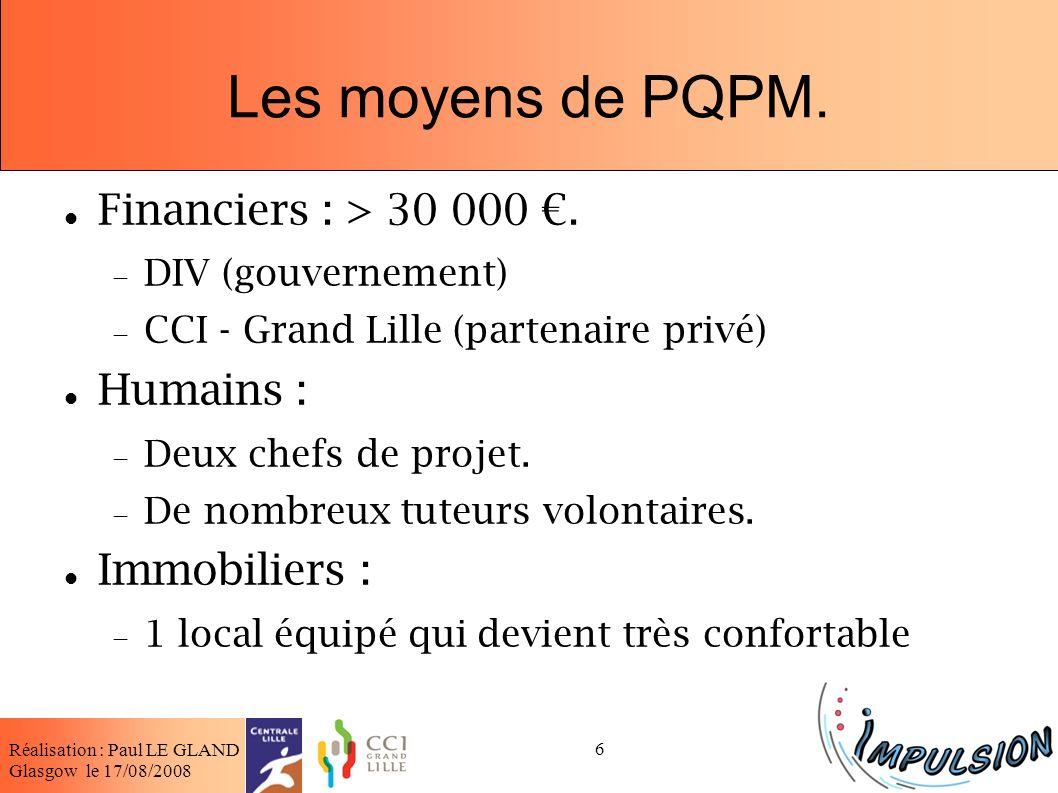 Les moyens de PQPM. Financiers : > 30 000 €. Humains :
