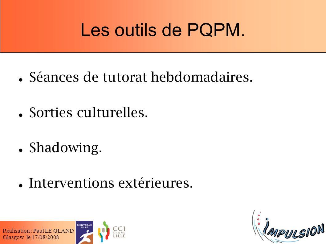 Les outils de PQPM. Séances de tutorat hebdomadaires.