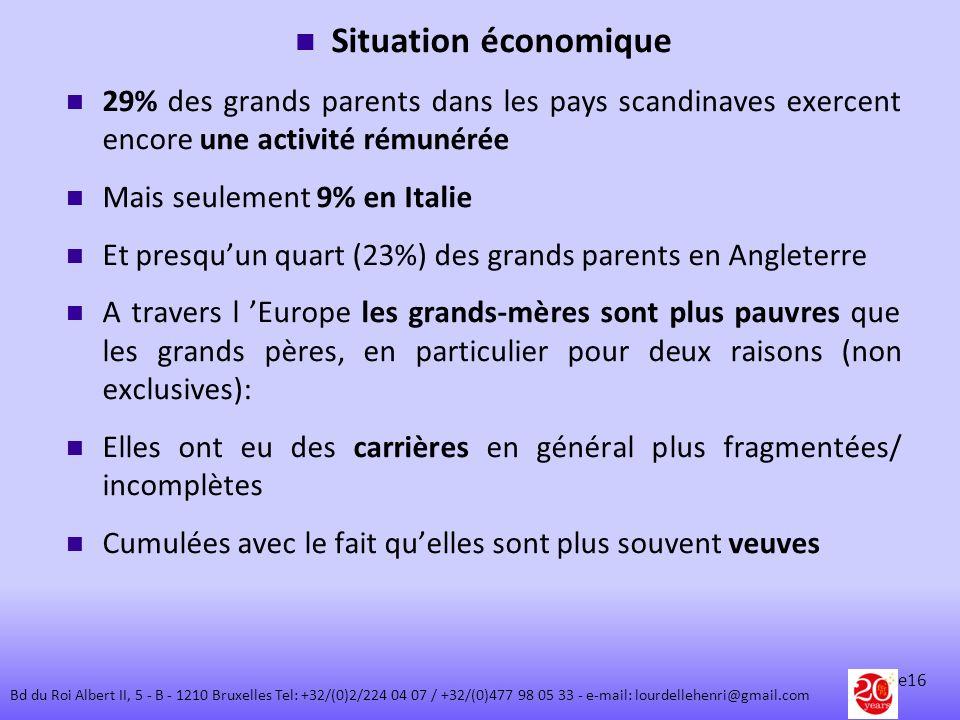 Situation économique 29% des grands parents dans les pays scandinaves exercent encore une activité rémunérée.