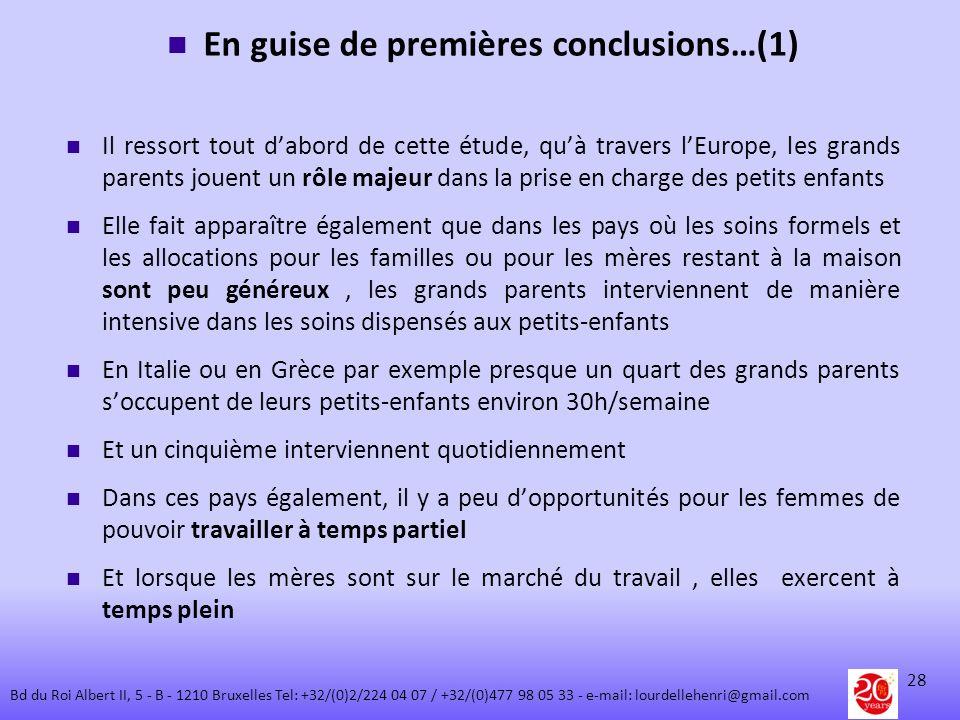 En guise de premières conclusions…(1)