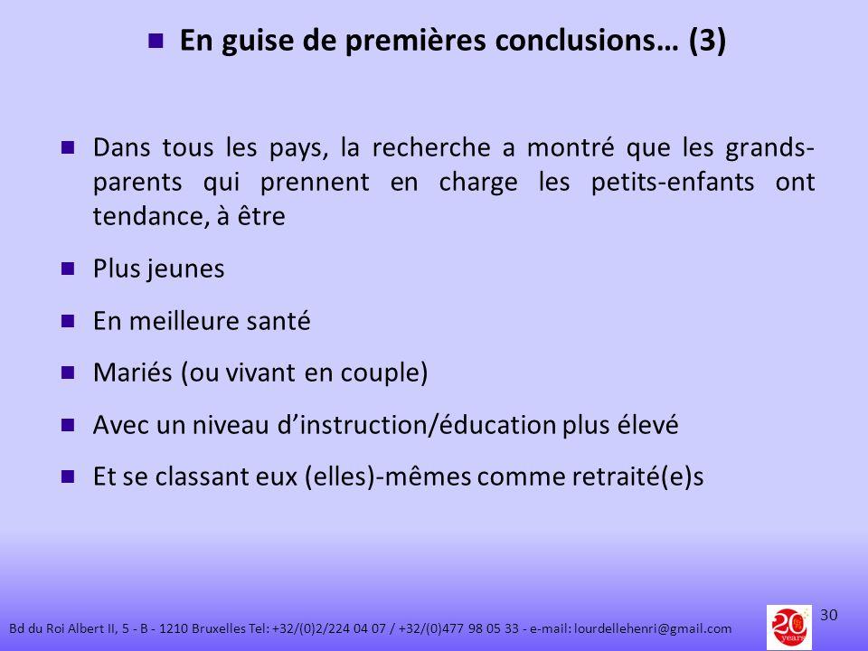 En guise de premières conclusions… (3)