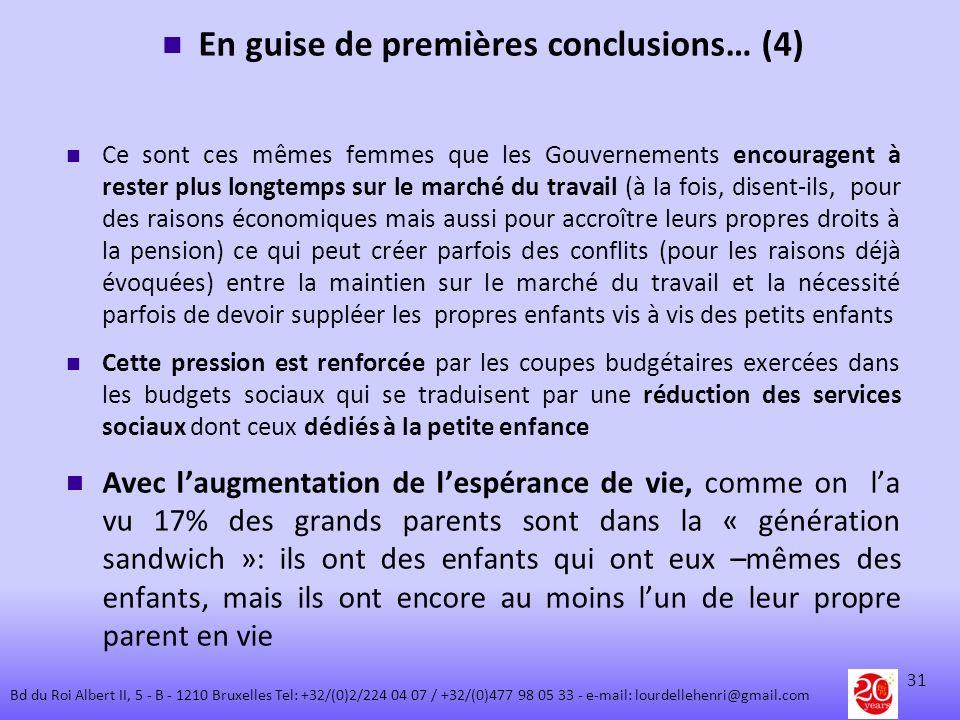En guise de premières conclusions… (4)