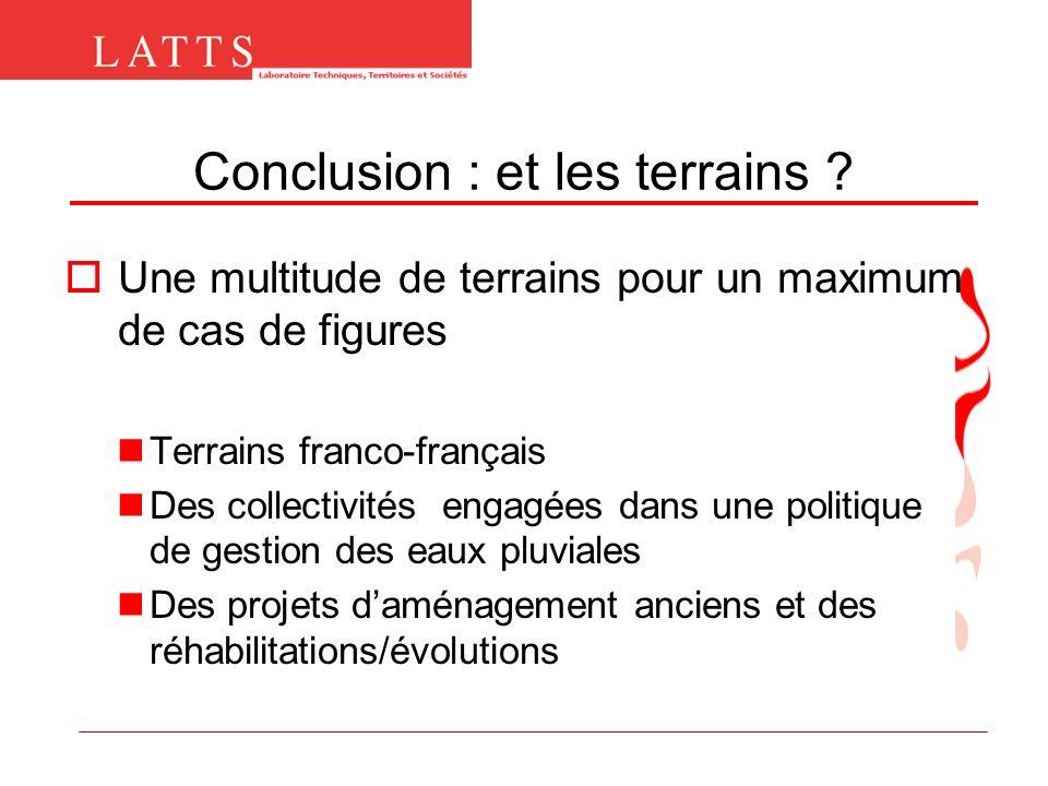Conclusion : et les terrains