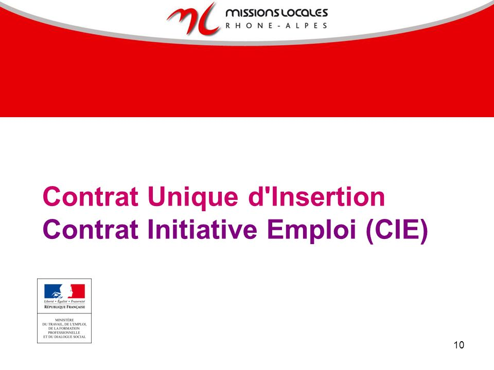 Contrat Unique d Insertion Contrat Initiative Emploi (CIE)