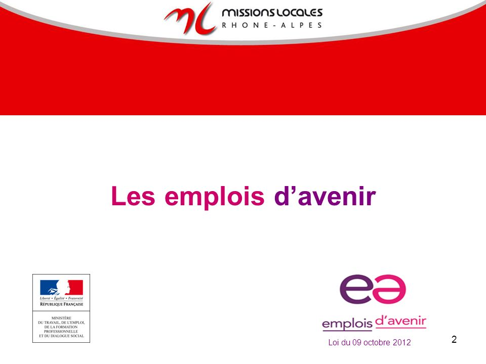 Les emplois d'avenir Loi du 09 octobre 2012