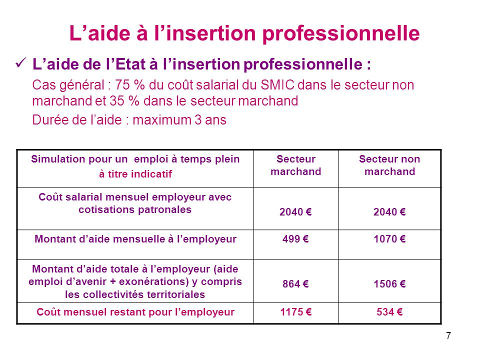 L'aide à l'insertion professionnelle