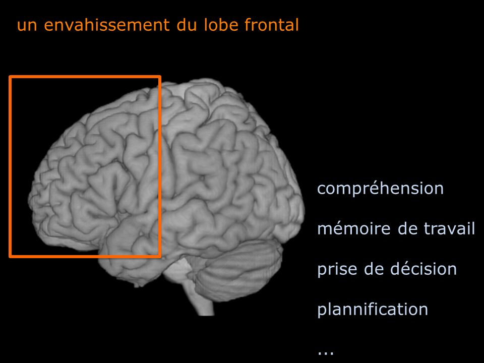 un envahissement du lobe frontal