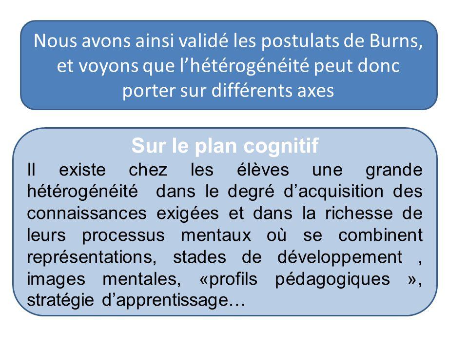 Nous avons ainsi validé les postulats de Burns, et voyons que l'hétérogénéité peut donc porter sur différents axes