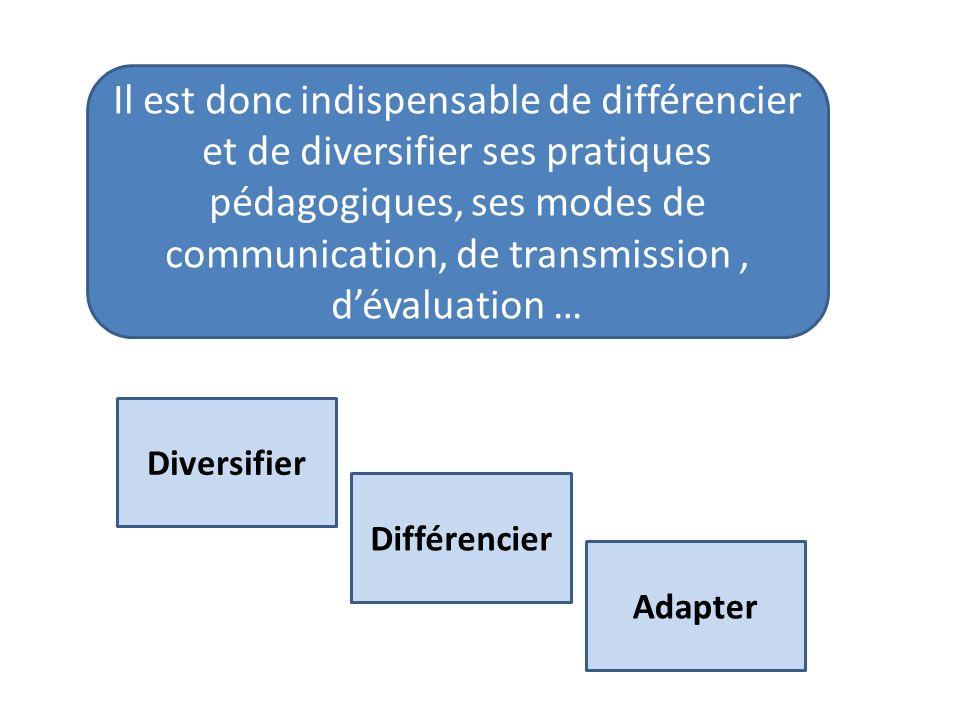 Il est donc indispensable de différencier et de diversifier ses pratiques pédagogiques, ses modes de communication, de transmission , d'évaluation …