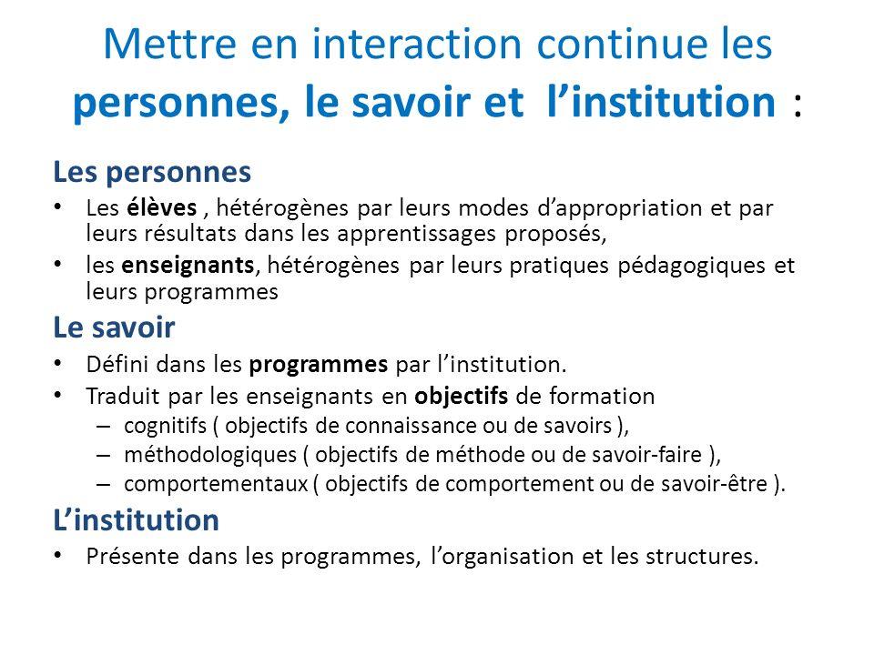 Mettre en interaction continue les personnes, le savoir et l'institution :