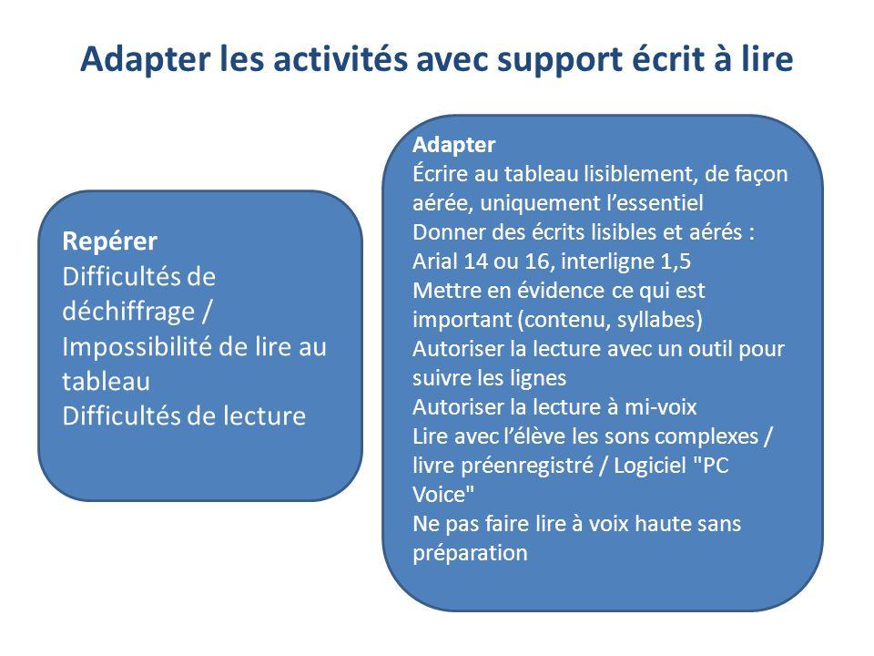 Adapter les activités avec support écrit à lire