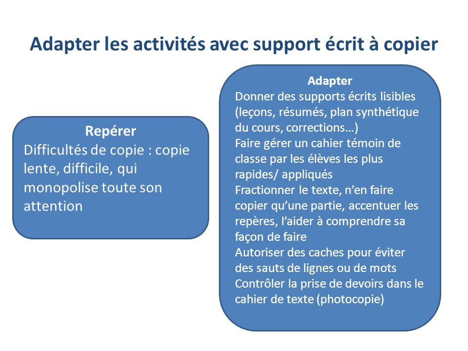 Adapter les activités avec support écrit à copier