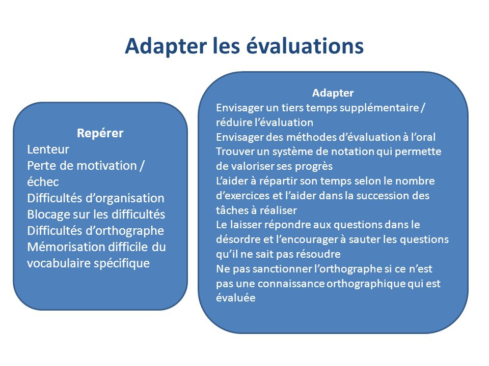 Adapter les évaluations
