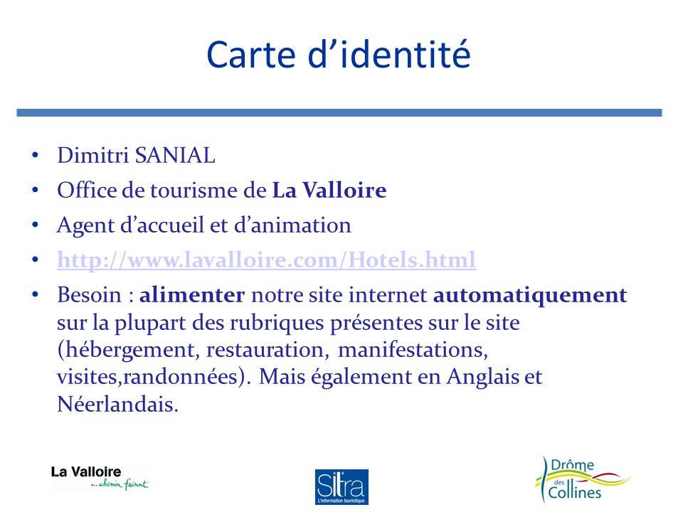 Carte d'identité Dimitri SANIAL Office de tourisme de La Valloire
