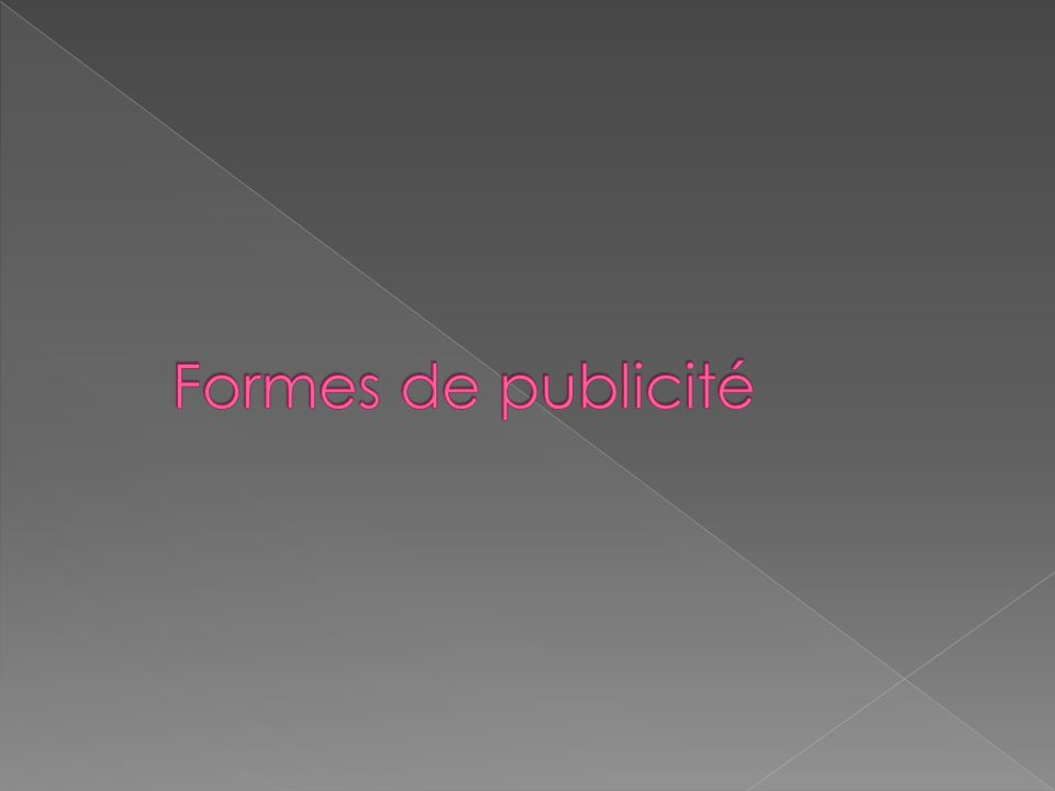 Formes de publicité