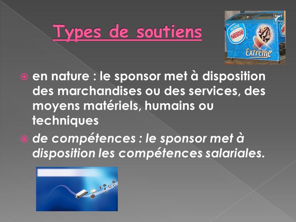 Types de soutiens en nature : le sponsor met à disposition des marchandises ou des services, des moyens matériels, humains ou techniques