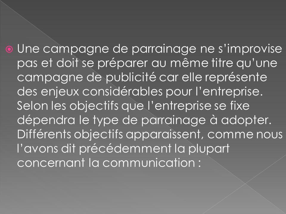 Une campagne de parrainage ne s'improvise pas et doit se préparer au même titre qu'une campagne de publicité car elle représente des enjeux considérables pour l'entreprise.