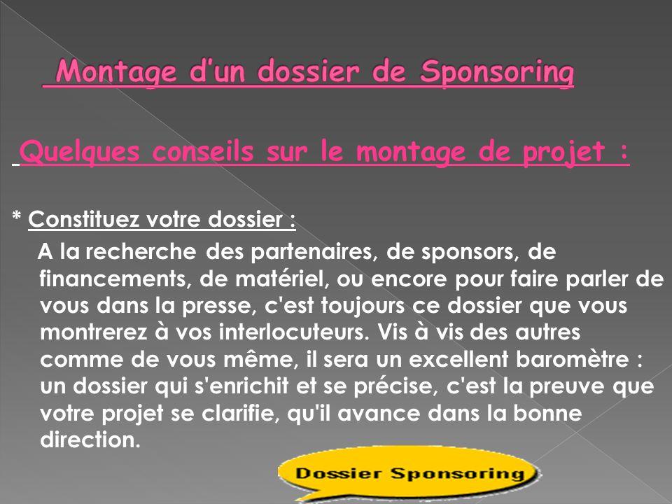 Montage d'un dossier de Sponsoring