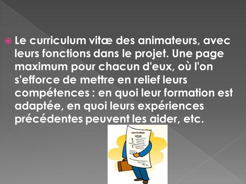 Le curriculum vitæ des animateurs, avec leurs fonctions dans le projet