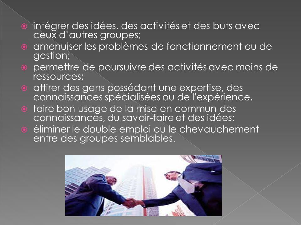 intégrer des idées, des activités et des buts avec ceux d'autres groupes;