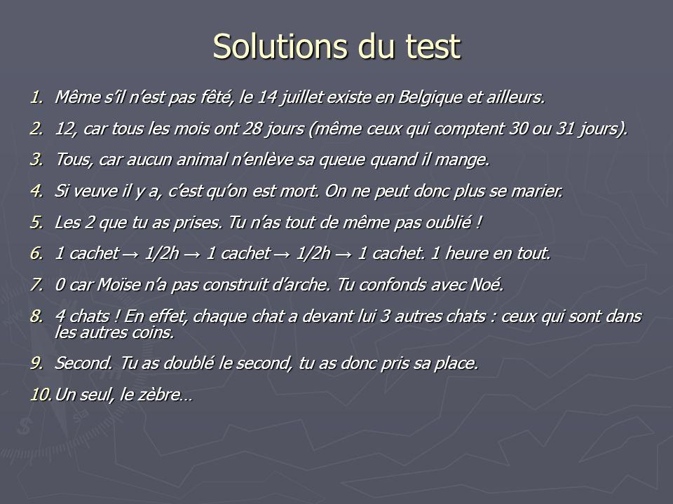 Solutions du test Même s'il n'est pas fêté, le 14 juillet existe en Belgique et ailleurs.