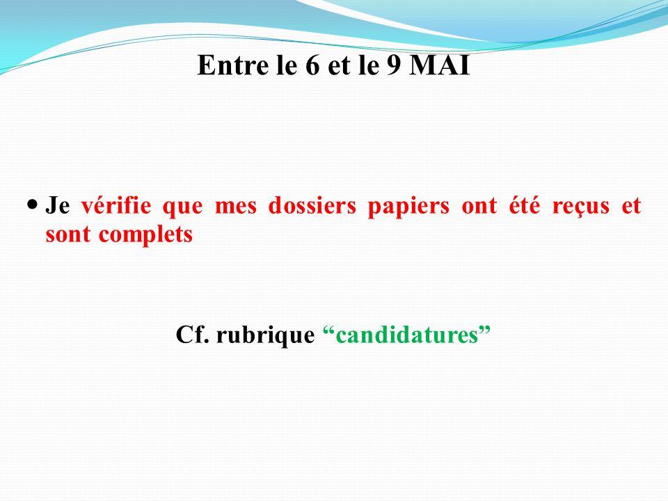 Cf. rubrique candidatures