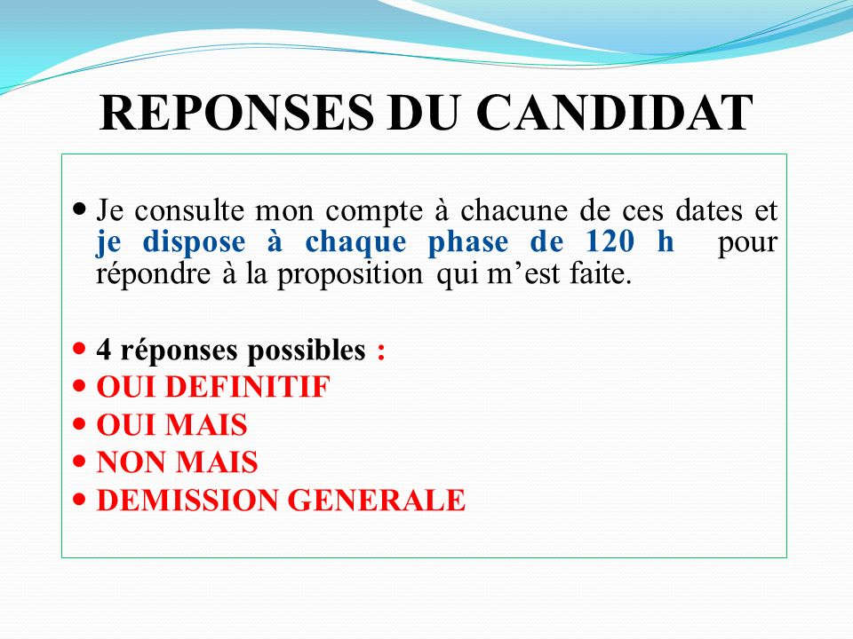 REPONSES DU CANDIDAT