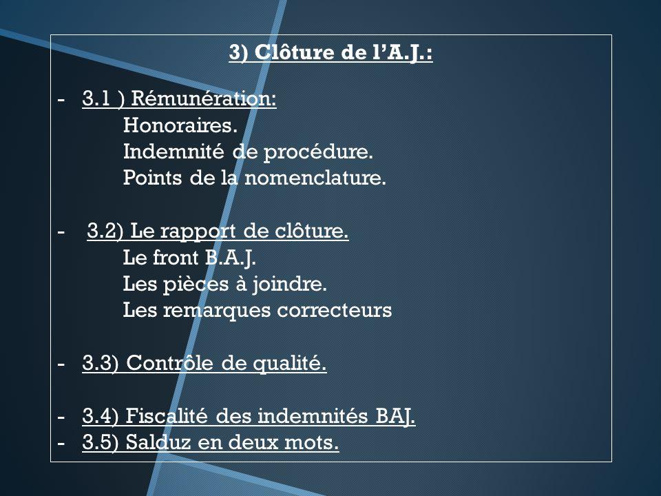3) Clôture de l'A.J.: 3.1 ) Rémunération: Honoraires. Indemnité de procédure. Points de la nomenclature.