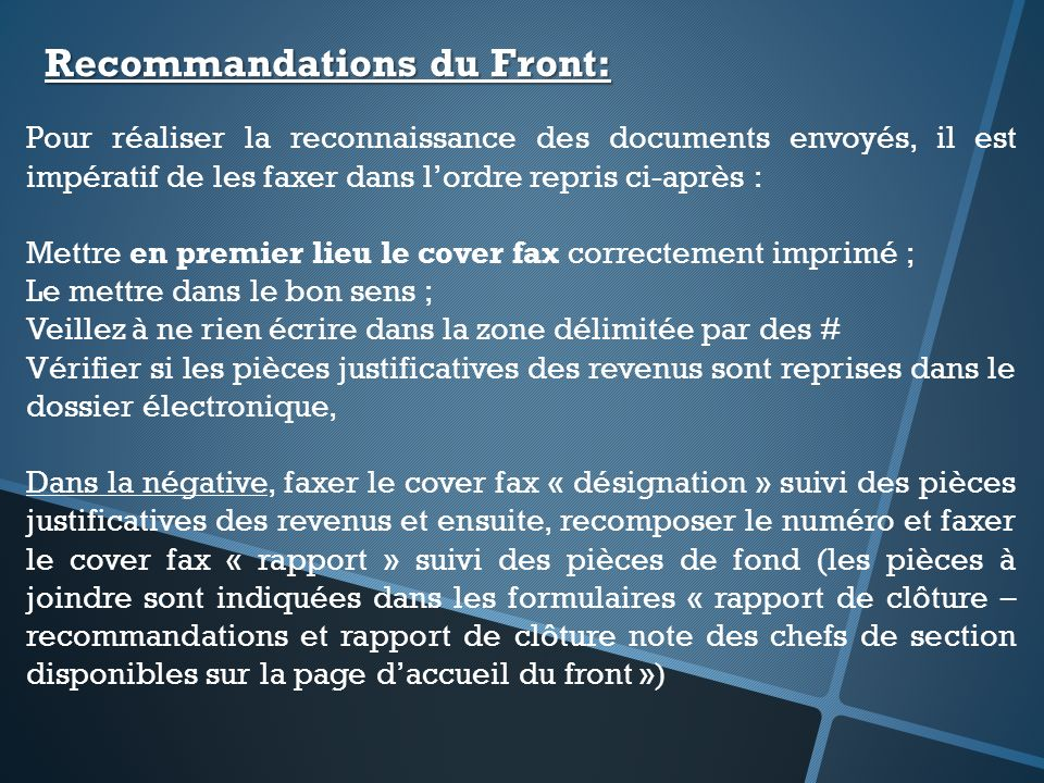 Recommandations du Front: