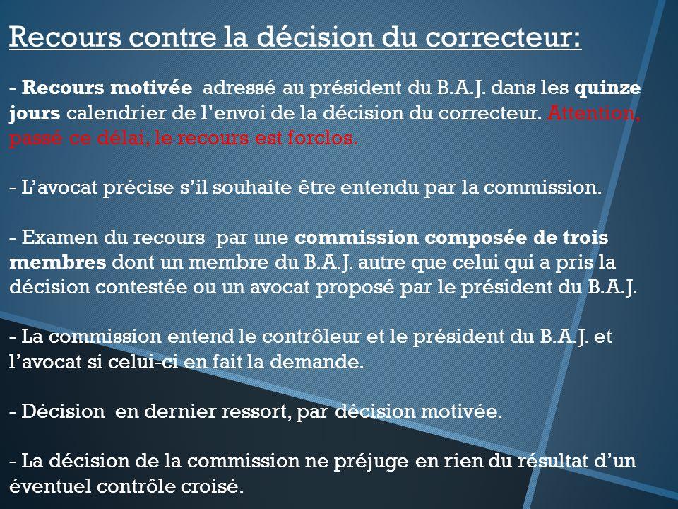Recours contre la décision du correcteur: