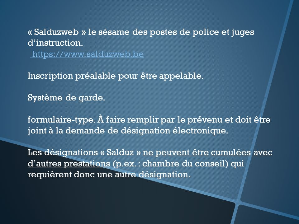 « Salduzweb » le sésame des postes de police et juges d'instruction.