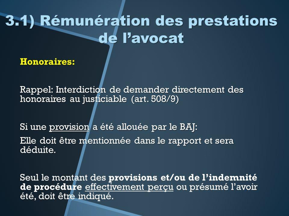 3.1) Rémunération des prestations de l'avocat